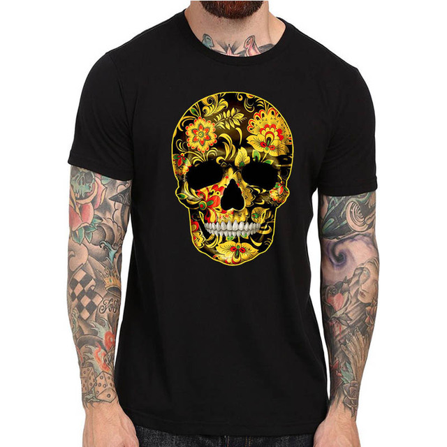 bd917d446c5 Flower Skull T-Shirts Candy Day Of The Dead Mexico Sugar Skull Gothic Tops  Tee Shirts Cool Cotton Tshirt For Men Women