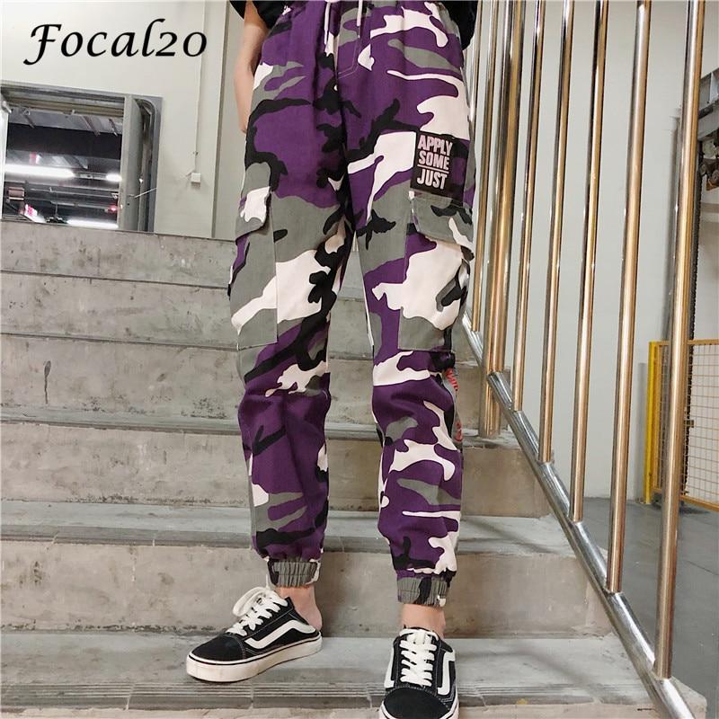 Focal20 Streetwear Letter Print Camouflage Women Pants Elastic Waist Pocket Pants Full Length Loose Pants Trousers 3