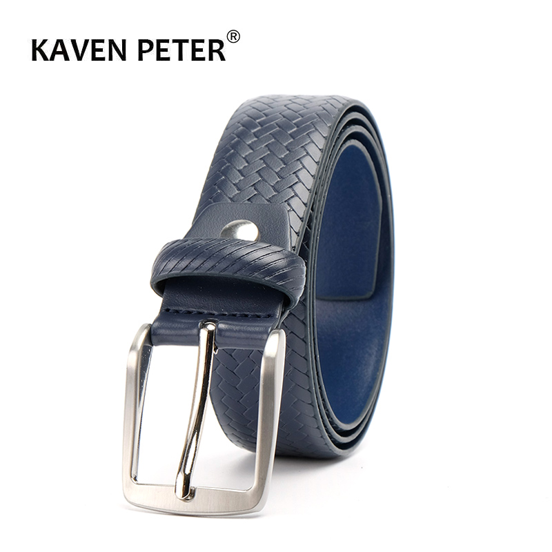 Genuine Leather Plaid Belts For Men Casual Belt Dark Blue Color Male Business Belt  Ceinture Homme