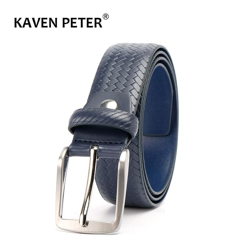 Genuine Leather Plaid Belts For Men Casual Belt Dark Blue Color Male Business Belt  Ceinture Homme