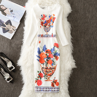 Fenghua 2017 Fashion Winter Autumn Dress Plus Size Vintage Casual Office Pencil Bodycon Dress Floral Print