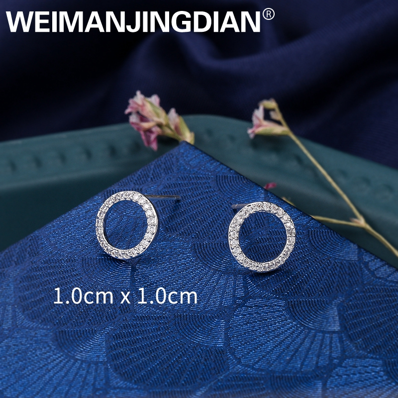 WEIMANJINGDIAN New Arrival Sparkling Cubic Zirconia CZ Zircon Crystal 10mm Circle Stud Earrings for Women