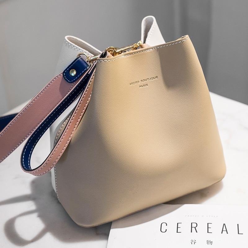 2019 New Designer Women Handbags PU Leather Bucket Shoulder Bags Female Fashion Larger Capacity Crossbody Messenger Bags Girls