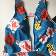 FREE SHIPPING Blue Floral Swimsuits Swimwear Deep V Backless JKP418