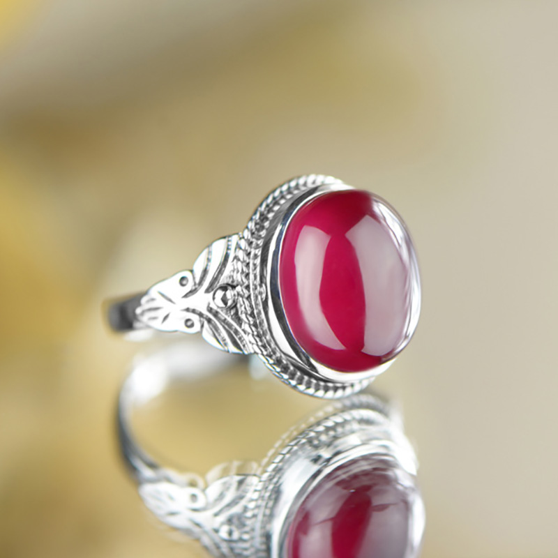 Guaranteed Sterling Silver 925 Vintage Ruby Ring Womens Rings Natural Stone Fine Jewellery Bijoux Femme