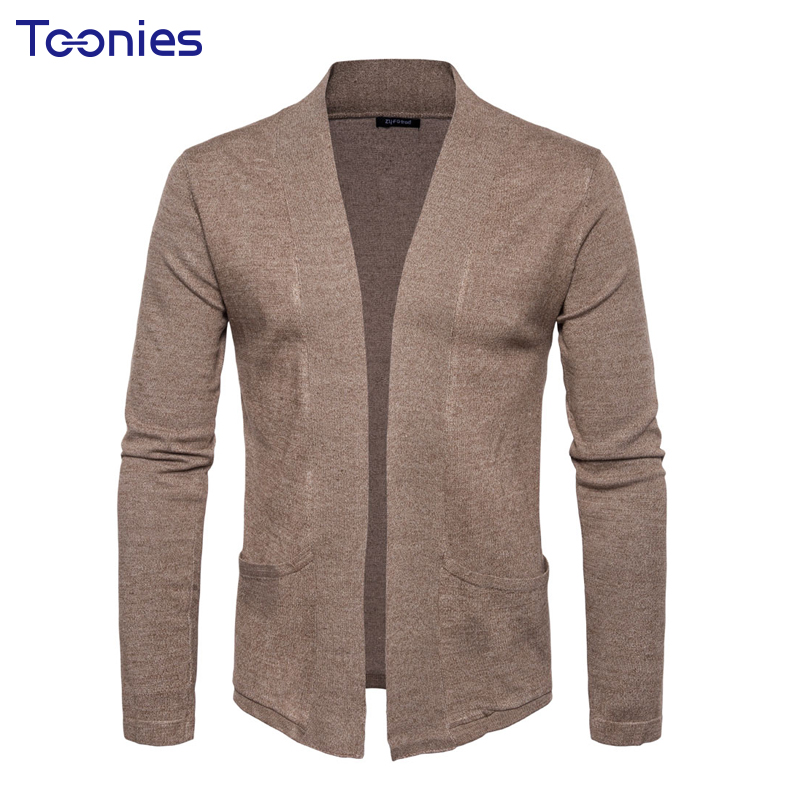 2018 New Autumn Mens Knitted Cardigan Sweater Christmas Top Male Solid V-neck Long Sleev ...