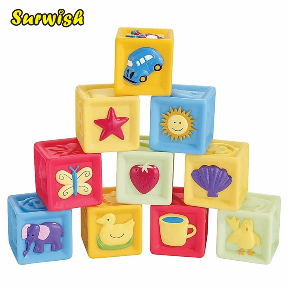 Utoysland 10pcs Set Baby Blocks Toys Non Toxic Soft