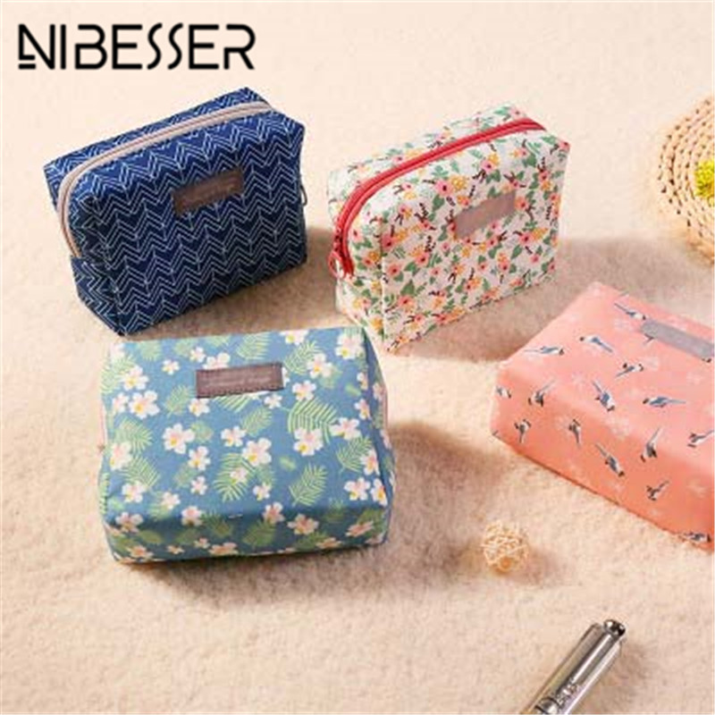 NIBESSER Sweet Floral Cosmetic Bag Travel Organizer Portable Beauty Pouch Toiletry Kit Mini Purse Makeup Pouch Make Up Wash Bag