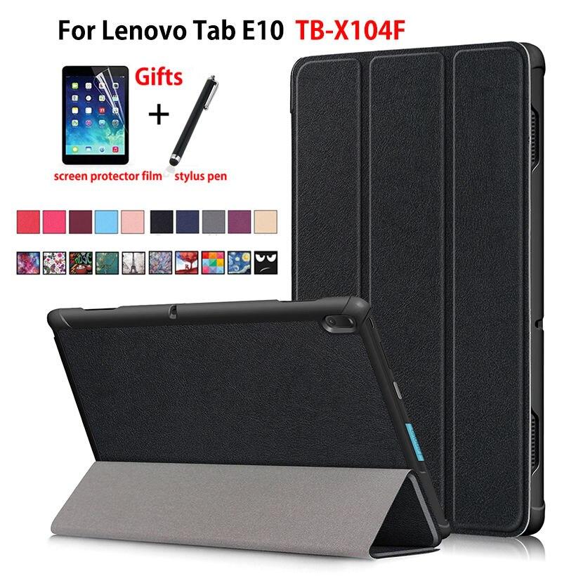 Capa para lenovo tab e10 10.1 tablet capa funda TB-X104F tb x104f TB-X104L magro magnético dobrável couro do plutônio suporte escudo + presentes