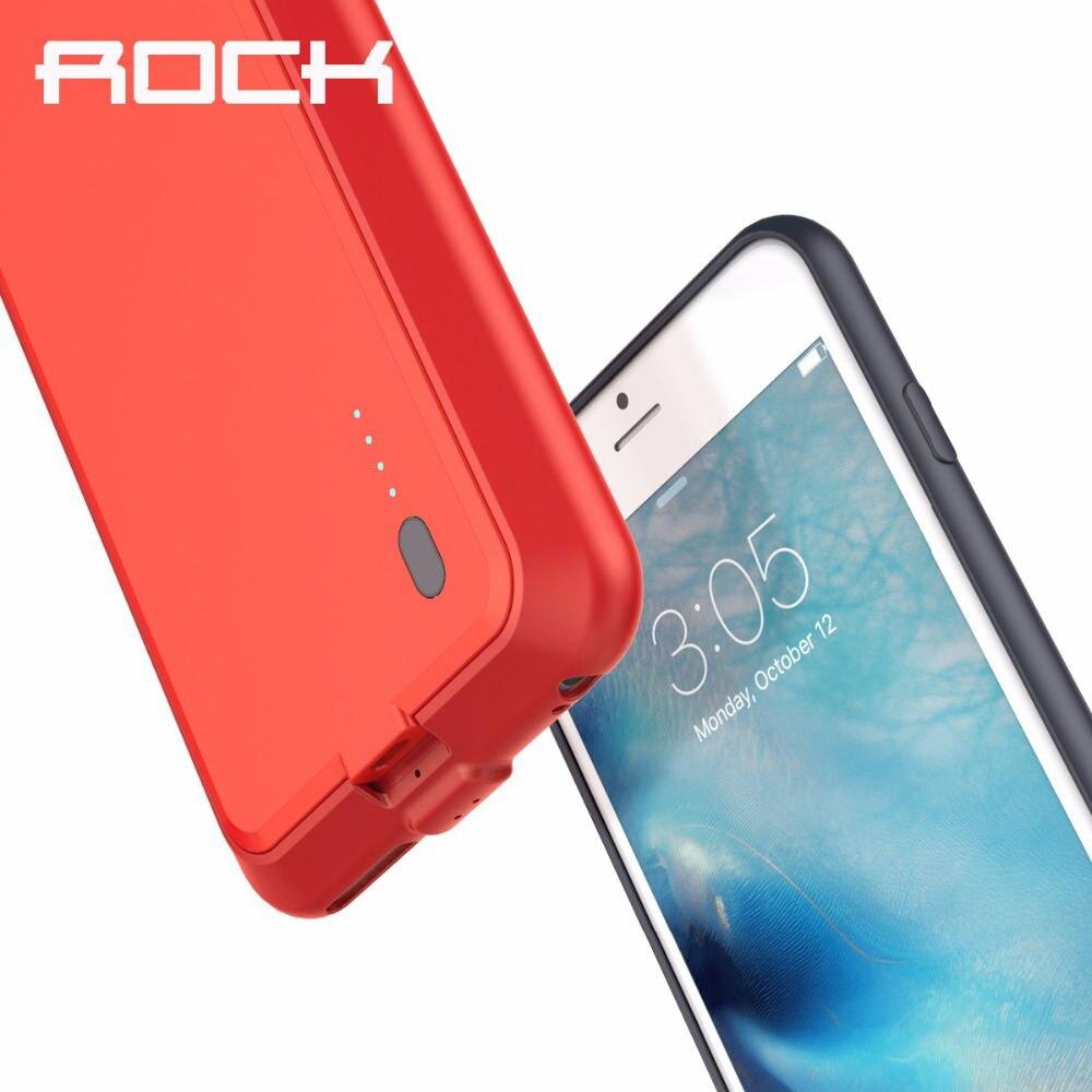 imágenes para Rock caso del banco de potencia para iphone 6/6s/6 plus/6 s plus 2000/2800 mAh Copia de seguridad de Emergencia Cargador de Batería Externa para iphone