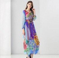 Lato afryki druku długi dress 2017 runway moda damska silk sexy party sukienki midi suknie dla kobiet odzież boho chic