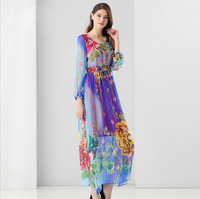 Summer African Print Long Dress 2017 Runway Womens Fashion Silk Sexy Party Dresses Midi Dresses For