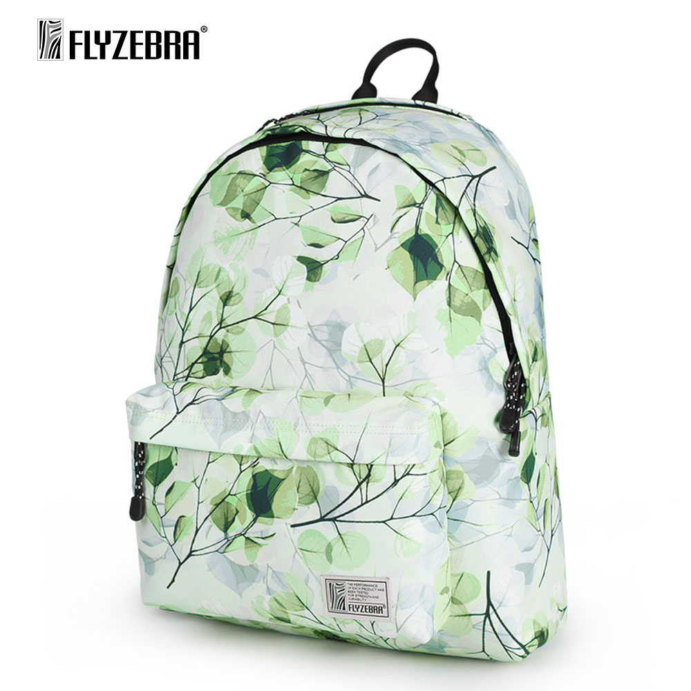 FLYZEBRA Printing Backpack Women Landscape Leaves Korean Fashion Women Travel Bags Computer Backpacks Girls Student SchoolBag free shipping korean version candy colors fairy tail logo printing man woman canvas schoolbag red green black blue backpacks
