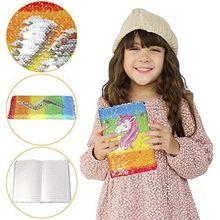 123456789 Store Unicorn Sequin Journal Magic Reversible Notebook Girls Diary For School
