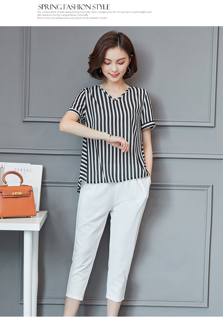 Plus Size Summer Striped Two Pieces Sets Women Short Sleeve Tops And Cropped Pants Suits Sets Casual Korean Women's Costume 2019 33