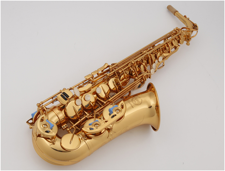 KUNO KAS-901 Alto Eb Saxophone Brass Tube Gold Lacquer Instrument Sax Professional Western Instruments Saxofone For Students