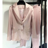 Suit and trousers two piece set classis women's suit news 2018 for women fashion pink office overalls beautiful career ciothes
