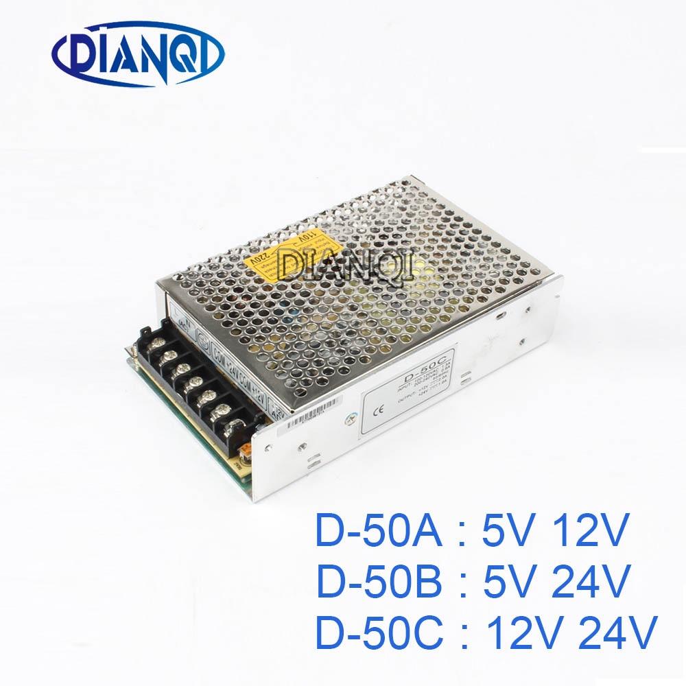 DIANQI dual output Switching power supply 50w 5v 12v 24V power suply ac dc converter D-50B D-50C dianqi dual output switching power supply 30w 5v 12v 24v power suply d 30a ac dc converter d 30b d 30c
