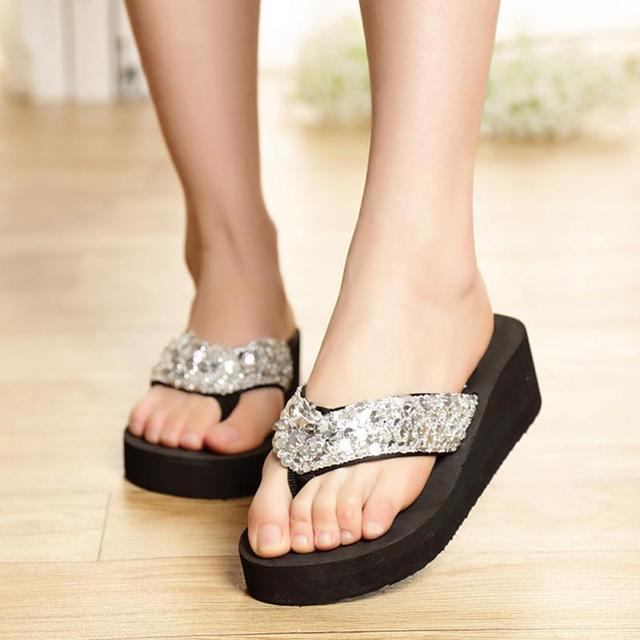 Mulheres verão Sapatos Casuais Não-Deslizamento Lantejoulas de Bling Cunhas Plataforma Praia Chinelos Flip Flops sandálias #25