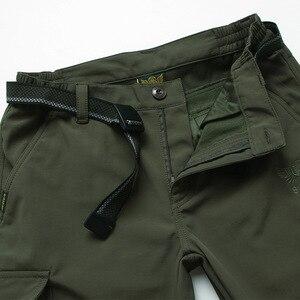 Image 4 - גברים של צמר טקטי למתוח מכנסיים החורף מקרית חם מכנסיים מטען צבאי SoftShell לעבוד מכנסיים עבה חם עמיד למים מכנסיים