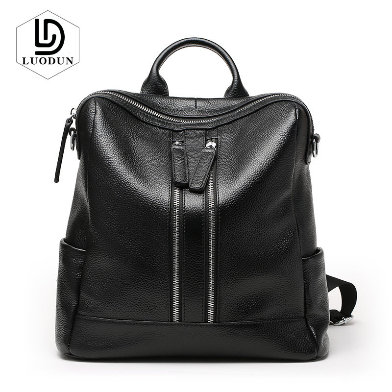 LUODUN Women Backpack female Genuine Leather shoulder bag dual-use ladies bag Korean wild travel backpack Fashion School Bags цена
