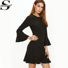 Sheinside Casual Short Womens Dresses New Arrival Elegant Dress Office Dress Black Bell Sleeve Ruffle Hem Dress