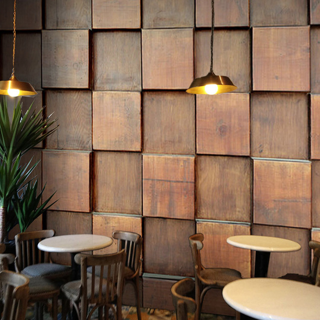 Custom mural Retro brown wood mural coffee bar Internet