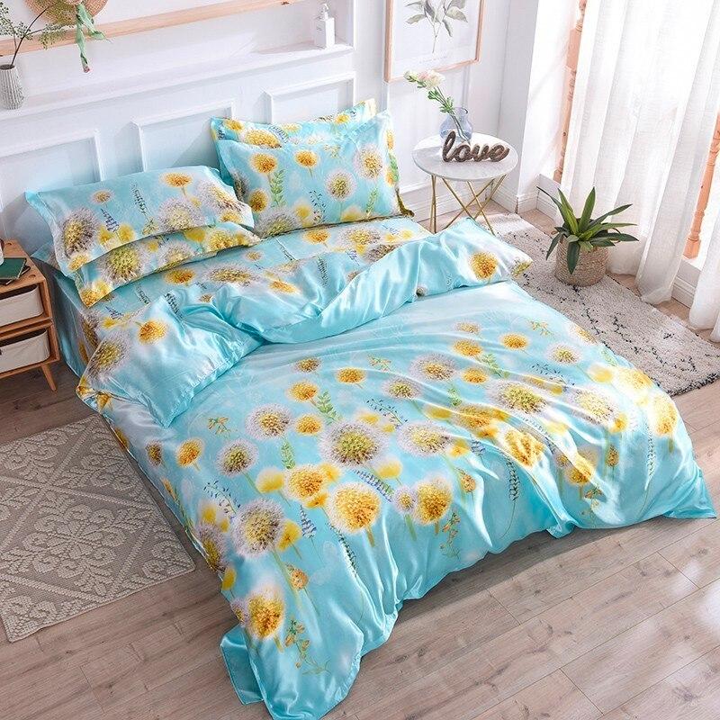 Satin soie linge de lit soie ensembles de literie 4 pièces reine roi taille Floral imprimé housse de couette double literie été pastorale draps de lit