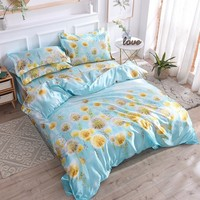 Satin Silk Bed Linen Silk Bedding Sets 4pcs Queen King Size Floral Printed Duvet Cover Twin Bedcloth Summer Pastoral Bed Sheets