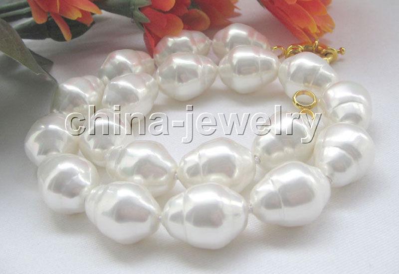 Collier de perles en coquillage de mer du sud de forme baroque blanche naturelle de P4684-18