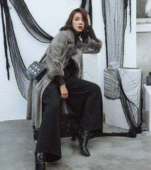 ZiZhen moda de mujeres Natural de invierno abrigo nueva las piel UjzVLqSMpG