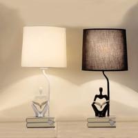 Led Table lamp Retro Table Lamp For Living Room Bedroom Light Reading Men Resin Desk Lamp Fabric Lampshade Home Lighting abajour