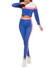 Color contrast stitching long sleeve tracksuits women two piece set 2019 spring t-shirt top and suits casual bodcon 2