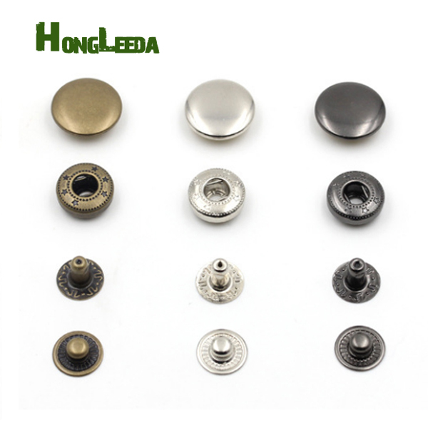 US $7 5 |Wholesale 100sets/lot 10mm small four part brass metal button  spring snap button snap fasteners silver, bronze, black FP 005-in Buttons  from