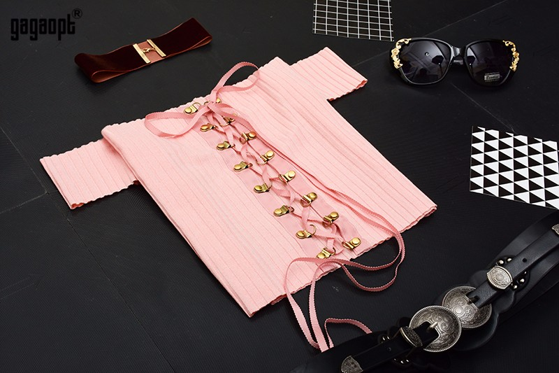 HTB1H6WoOpXXXXafXVXXq6xXFXXXA - Sexy Black Crop Top Lace Up Tee shirt Metal Ropes Women