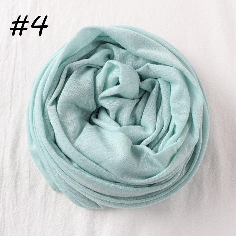 Один кусок Хиджаб Женский вискозный Джерси-шарф Мусульманский Исламский сплошной простой Джерси хиджабы Макси шарфы мягкие шали 70x160 см - Цвет: 4 aqua