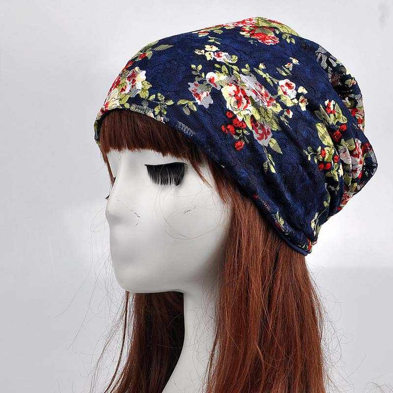 ... 2019 New Fashion Flowers Lace Summer Knitted Casual Beanies Women  Ladies Cap Flower Skullies Hat Scarf ... e7bd68412780