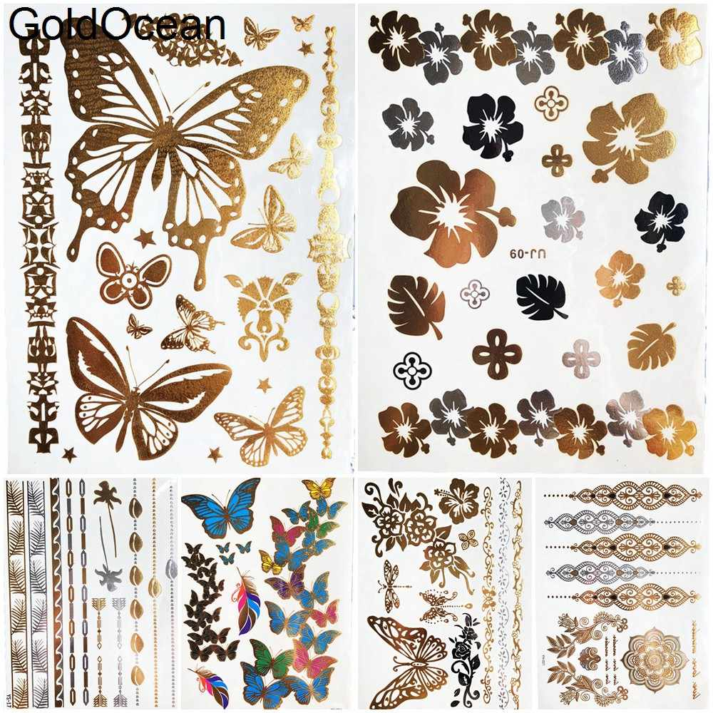 Sexy Butterfly Golden Metal Temporary Tattoo Stickers Plum Flower Girls Hands Flash Tattoo Women Body Neck Tatoos Chest Chains