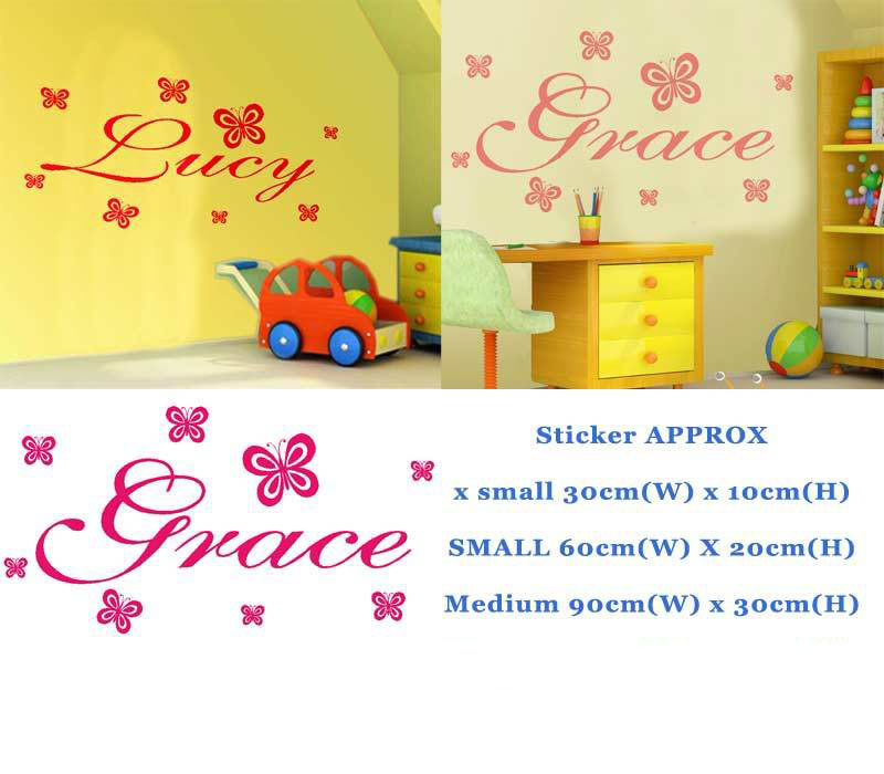 Custom Names PERSONALISED NAME WALL ART STICKERS GIRL BOY 3 SIZES ...