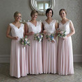 Vestido Lace Pink Bridesmaid Dresses Long Chiffon Lace Body Wedding Formal Wear V Neck Country Beach Maid Of Honor Party Gowns