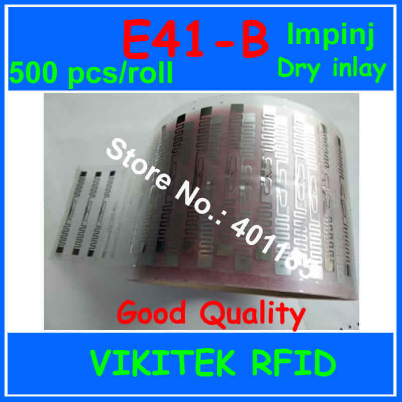 Impinj E41-B UHF RFID dry inlay 500pcs per roll 860-960MHZ Monza4 915M EPC C1G2 ISO18000-6C can be used to RFID tag and label car certificate uhf rfid tag customizable adhesive 860 960mhz monza4 epc c1g2 iso18000 6c can be used to rfid tag and labe