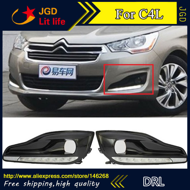 Free shipping ! 12V 6000k LED DRL Daytime running light for Citroen C4L 2013 fog lamp frame Fog light Car styling