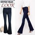 Super! New Vintage Dark Blue Skinny Flare Jeans Women Stretch Low Rise Jeans Femme Plus Size Wide Leg Denim Pants