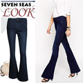 Super! nuevo vintage azul oscuro flaco flare jeans mujeres stretch low rise jeans femme plus size pierna ancha pantalones de mezclilla