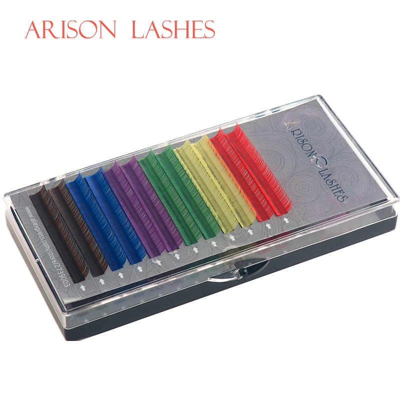 Arison Lashes 12 Lines 6 Colors Individual Eyelash Extension Rainbow Colored Eyelashes Natural Eye Lashes Extensions Mix Tray