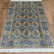 Yilong 4u0027x6u0027 Oriental Silk Rug Blue All Over Handmade Hand Knotted Carpets Prices