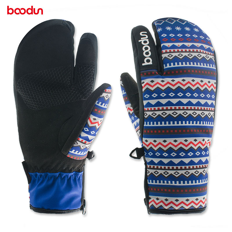 BOODUN Outdoor Sports Skiing Gloves Winter Warm Cycling Gloves Unisex Non-slip Waterproof Bike Skating Mittens Luvas de ciclismo