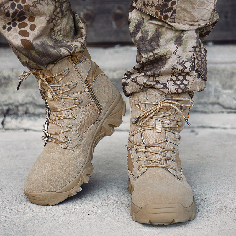 Autumn Men Military Boots Army Work Shoes Special Force Tactical Desert Combat Ankle Boots Winter Leather Snow Boots Size 39-46