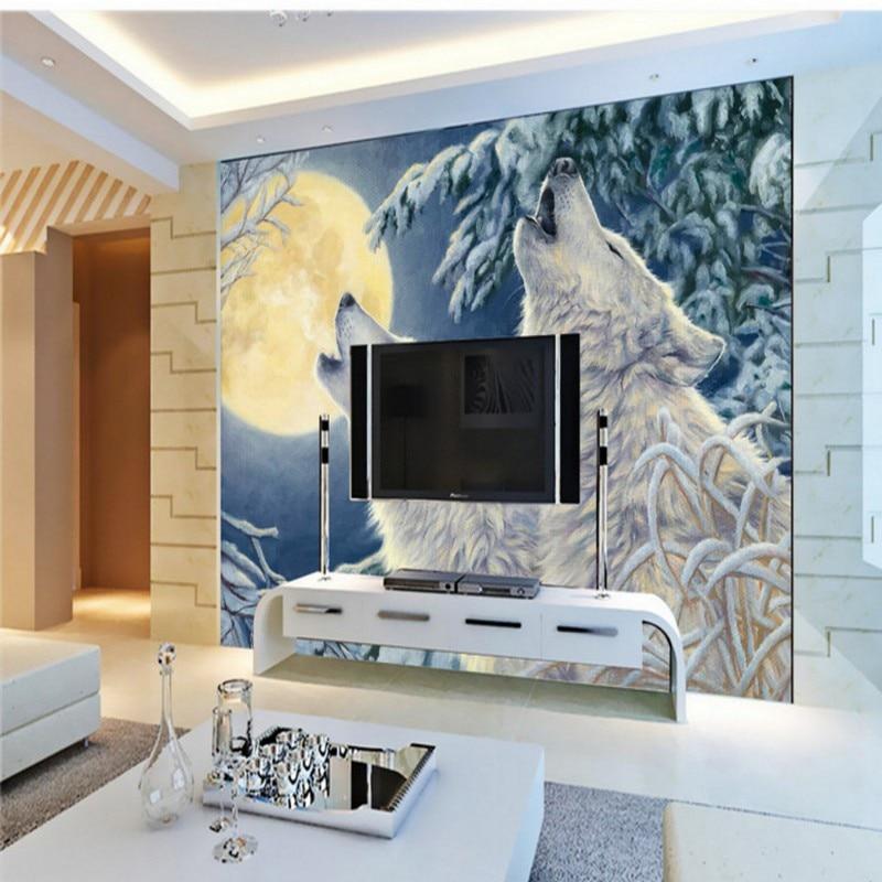 Custom photo wallpaper custom Winter moonlight white wolf wallpaper living room restaurant hotel mural oil painting wallpaper браслет цепь moonlight vsbc267 925