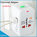 New Universal International Plug Adapter 2 USB Port World Travel AC Power Charger Adaptor with AU US UK EU converter Plug